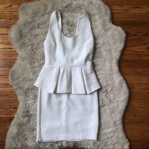Alice + Olivia Moria Sleeveless White Peplum Dress